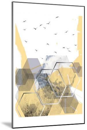 Yellow Grey Abstract Hexagons 2-Urban Epiphany-Mounted Art Print