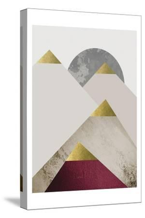 Beige Burgundy Mountains 2-Urban Epiphany-Stretched Canvas Print
