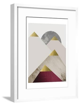 Beige Burgundy Mountains 2-Urban Epiphany-Framed Art Print
