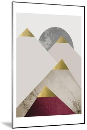 Beige Burgundy Mountains 2-Urban Epiphany-Mounted Art Print
