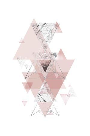Blush Pink Marbled Geometric-Urban Epiphany-Framed Art Print