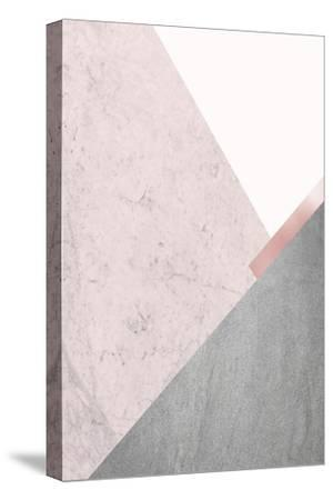 Blush Pink Mountains 1-Urban Epiphany-Stretched Canvas Print