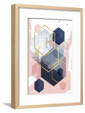 Abstract Navy Blush Gold 1-Urban Epiphany-Framed Art Print