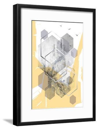 Yellow Grey Abstract Hexagons 1-Urban Epiphany-Framed Art Print