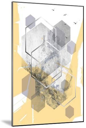 Yellow Grey Abstract Hexagons 1-Urban Epiphany-Mounted Art Print
