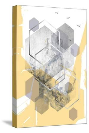 Yellow Grey Abstract Hexagons 1-Urban Epiphany-Stretched Canvas Print