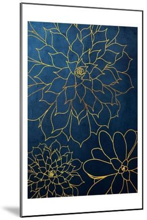 Navy Gold Succulent 3-Urban Epiphany-Mounted Art Print