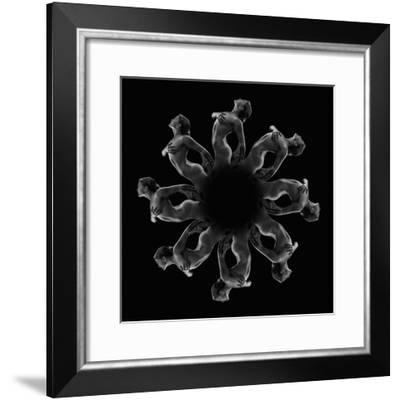 Kaleidoscope pattern of naked woman posing against black background-Panoramic Images-Framed Photographic Print