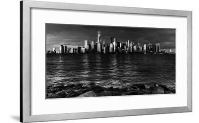 NEW YORK, NEW YORK, USA - New York City Spectacular Sunset in black and white focuses on One Wor...-Panoramic Images-Framed Photographic Print