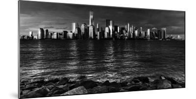 NEW YORK, NEW YORK, USA - New York City Spectacular Sunset in black and white focuses on One Wor...-Panoramic Images-Mounted Photographic Print