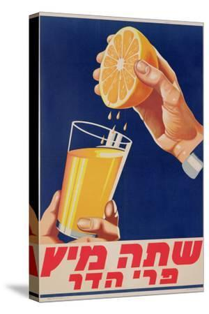Poster with a Glass of Orange Juice, C.1947 (Colour Litho)-Israeli-Stretched Canvas Print