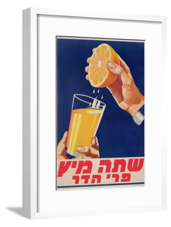 Poster with a Glass of Orange Juice, C.1947 (Colour Litho)-Israeli-Framed Giclee Print