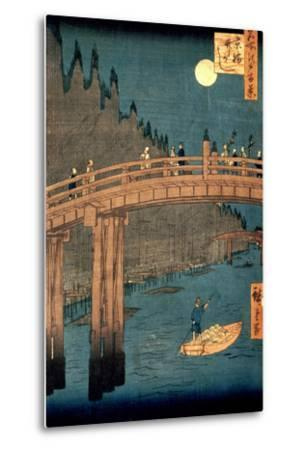 """Kyoto Bridge by Moonlight, from the Series """"100 Views of Famous Place in Edo,"""" Pub. 1855-Ando Hiroshige-Metal Print"""
