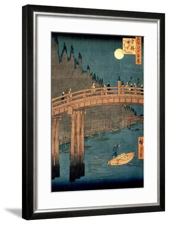 """Kyoto Bridge by Moonlight, from the Series """"100 Views of Famous Place in Edo,"""" Pub. 1855-Ando Hiroshige-Framed Premium Giclee Print"""