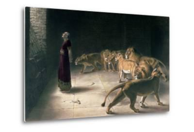 Daniel in the Lions Den, Mezzotint by J. B. Pratt, with Hand Colouring--Metal Print