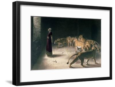 Daniel in the Lions Den, Mezzotint by J. B. Pratt, with Hand Colouring--Framed Giclee Print