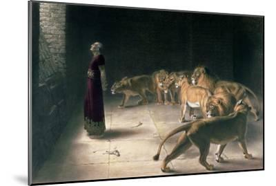 Daniel in the Lions Den, Mezzotint by J. B. Pratt, with Hand Colouring--Mounted Giclee Print
