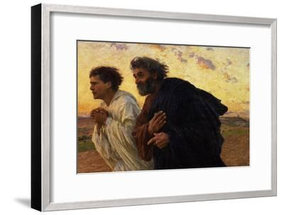 The Disciples Peter and John Running to Sepulchre on the Morning of the Resurrection, circa 1898-Eugene Burnand-Framed Premium Giclee Print