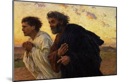 The Disciples Peter and John Running to Sepulchre on the Morning of the Resurrection, circa 1898-Eugene Burnand-Mounted Premium Giclee Print