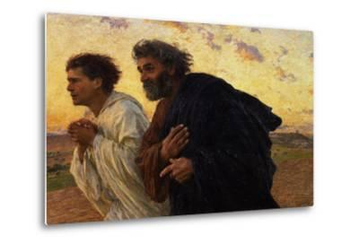 The Disciples Peter and John Running to Sepulchre on the Morning of the Resurrection, circa 1898-Eugene Burnand-Metal Print