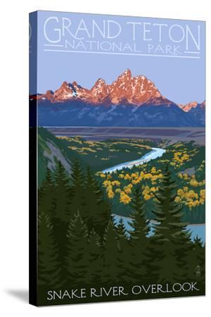 Grand Teton National Park - Snake River Overlook-Lantern Press-Stretched Canvas Print