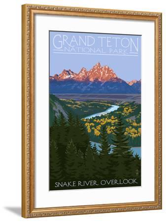 Grand Teton National Park - Snake River Overlook-Lantern Press-Framed Art Print