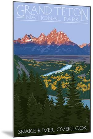 Grand Teton National Park - Snake River Overlook-Lantern Press-Mounted Art Print