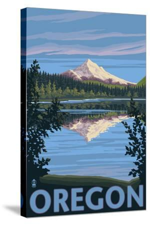 Mt. Hood from Lost Lake, Oregon-Lantern Press-Stretched Canvas Print