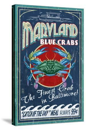 Baltimore, Maryland - Blue Crabs-Lantern Press-Stretched Canvas Print