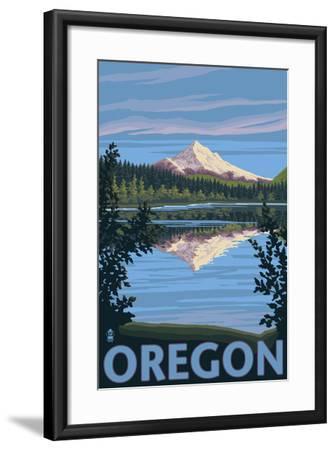Mt. Hood from Lost Lake, Oregon-Lantern Press-Framed Art Print