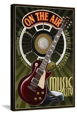 Nashville, Tennessee - Guitar and Microphone-Lantern Press-Stretched Canvas Print