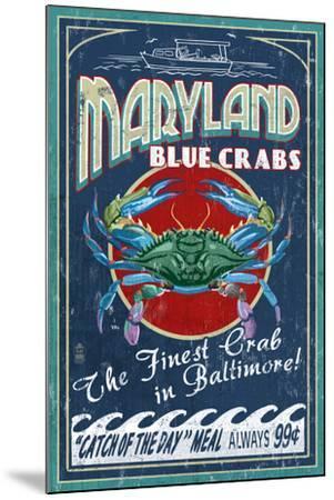 Baltimore, Maryland - Blue Crabs-Lantern Press-Mounted Art Print