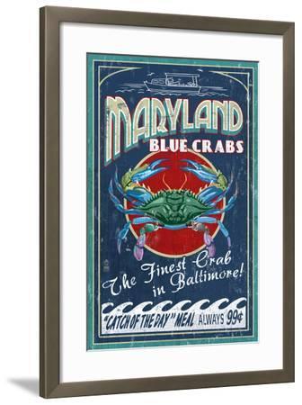 Baltimore, Maryland - Blue Crabs-Lantern Press-Framed Art Print
