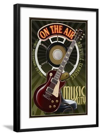 Nashville, Tennessee - Guitar and Microphone-Lantern Press-Framed Art Print