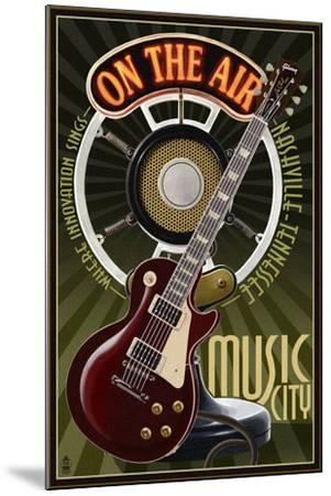 Nashville, Tennessee - Guitar and Microphone-Lantern Press-Mounted Art Print