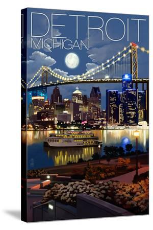 Detroit, Michigan - Skyline at Night-Lantern Press-Stretched Canvas Print