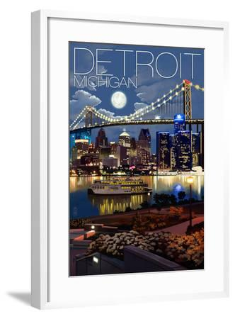 Detroit, Michigan - Skyline at Night-Lantern Press-Framed Art Print