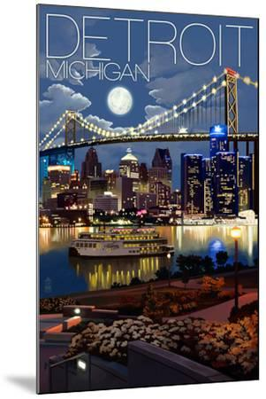Detroit, Michigan - Skyline at Night-Lantern Press-Mounted Art Print