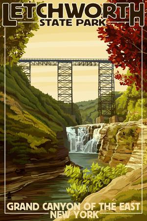 Letchworth State Park, New York - Grand Canyon of the East-Lantern Press-Framed Art Print