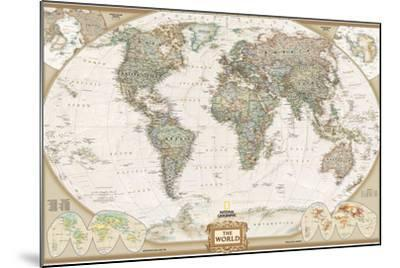 World Political Map, Executive Style-National Geographic Maps-Mounted Premium Giclee Print