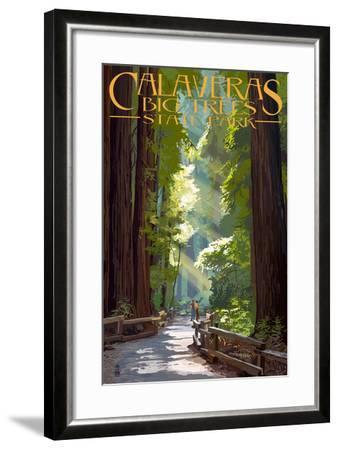 Calaveras Big Trees State Park - Pathway in Trees-Lantern Press-Framed Art Print