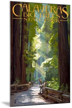Calaveras Big Trees State Park - Pathway in Trees-Lantern Press-Mounted Art Print