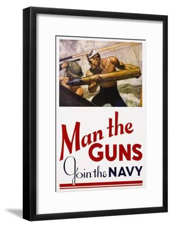 Man the guns join the navy poster