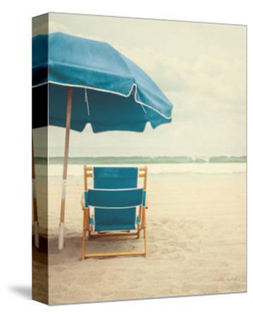 Under the Umbrella II - Bright Turquoise-Elizabeth Urquhart-Stretched Canvas Print