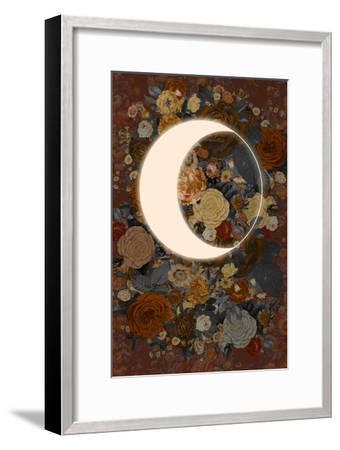 Dark Floral Lunar Eclipse--Framed Art Print