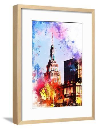 NYC Watercolor Collection - At the Top of the Empire-Philippe Hugonnard-Framed Art Print