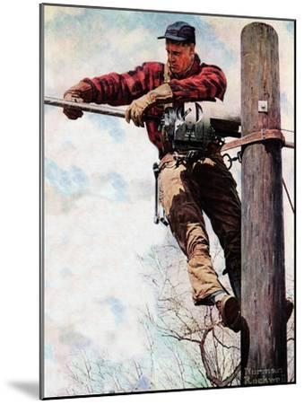 The Lineman (or Telephone Lineman on Pole)-Norman Rockwell-Mounted Giclee Print