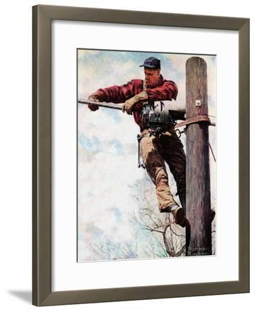 The Lineman (or Telephone Lineman on Pole)-Norman Rockwell-Framed Giclee Print