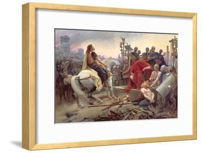 Vercingetorix Throws Down His Arms at the Feet of Julius Caesar, 1899-Lionel Noel Royer-Framed Giclee Print