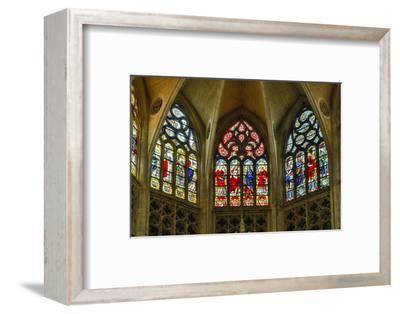 France, Toulouse. Cathedral of St. Etienne stained glass windows.-Hollice Looney-Framed Photographic Print